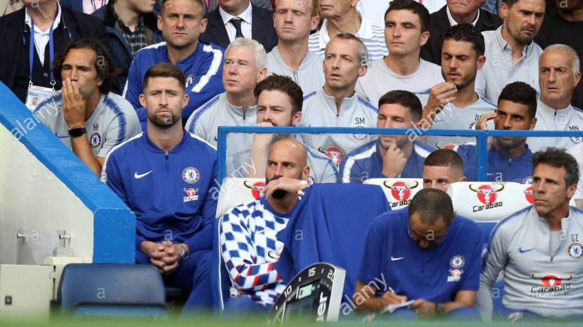 london-uk-18th-aug-2018-gary-cahill-c-left-behind-the-bench-at-the-chelsea-v-arsenal-english-premier-league-game-at-stamford-bridge-london-on-august-18-2018-this-picture-is-for-editorial-use-only-credit-paul-marriottalamy-live-news-PF4G9J.jpg